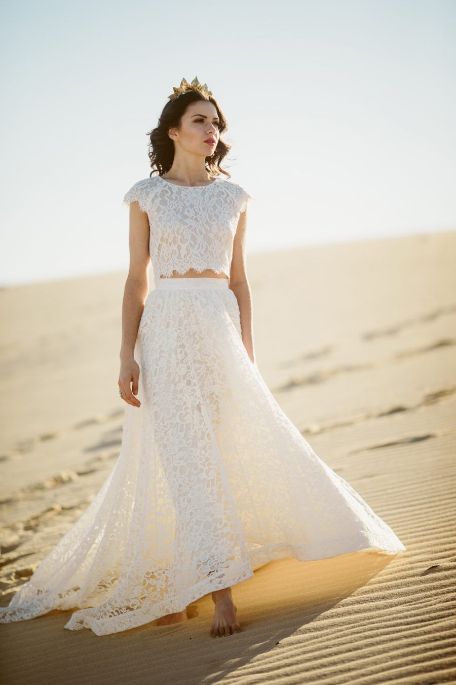 There is something so unique about a two piece lace wedding dress ...
