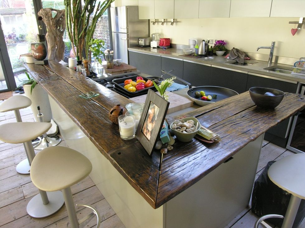 Stunning recycled wood work top from Brighton