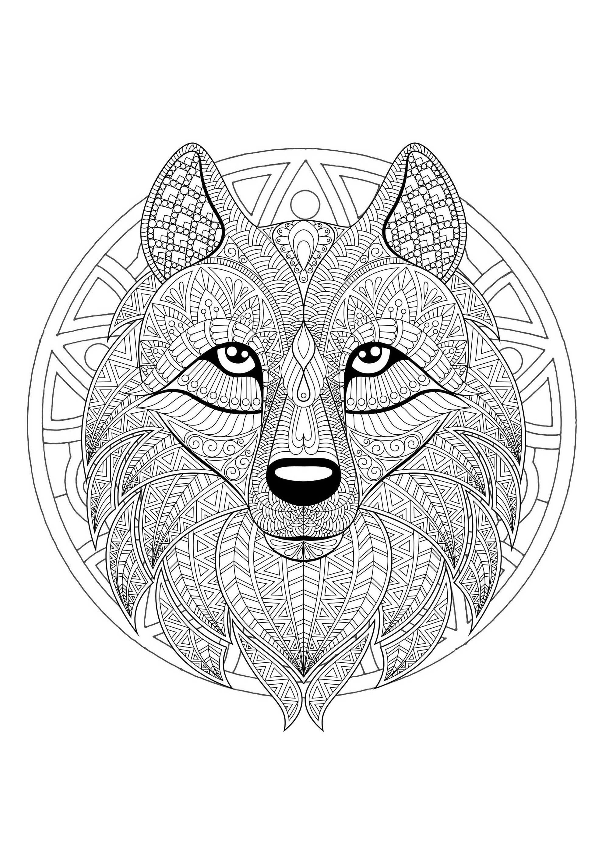 Mandala Tete Loup 2 Coloriages Mandalas Just Color Coloriage