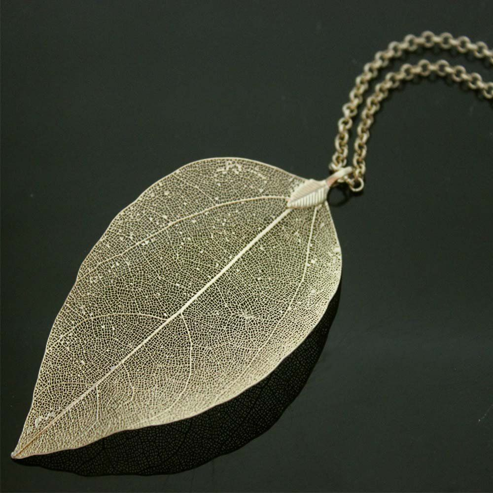pin long chain gold necklace vintage chains plated leaf accessories