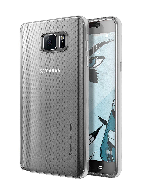 Galaxy Note 5 Case Ghostek Cloak SIlver Slim Protective Armor w/ Tempered Glass Aluminum Bumper