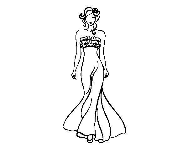 dibujo de vestido de boda elegante para colorear | coloring