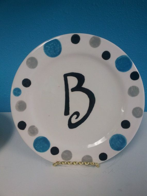 Items similar to Hand Painted Initial Plate with Polka Dots - Customizable on Etsy