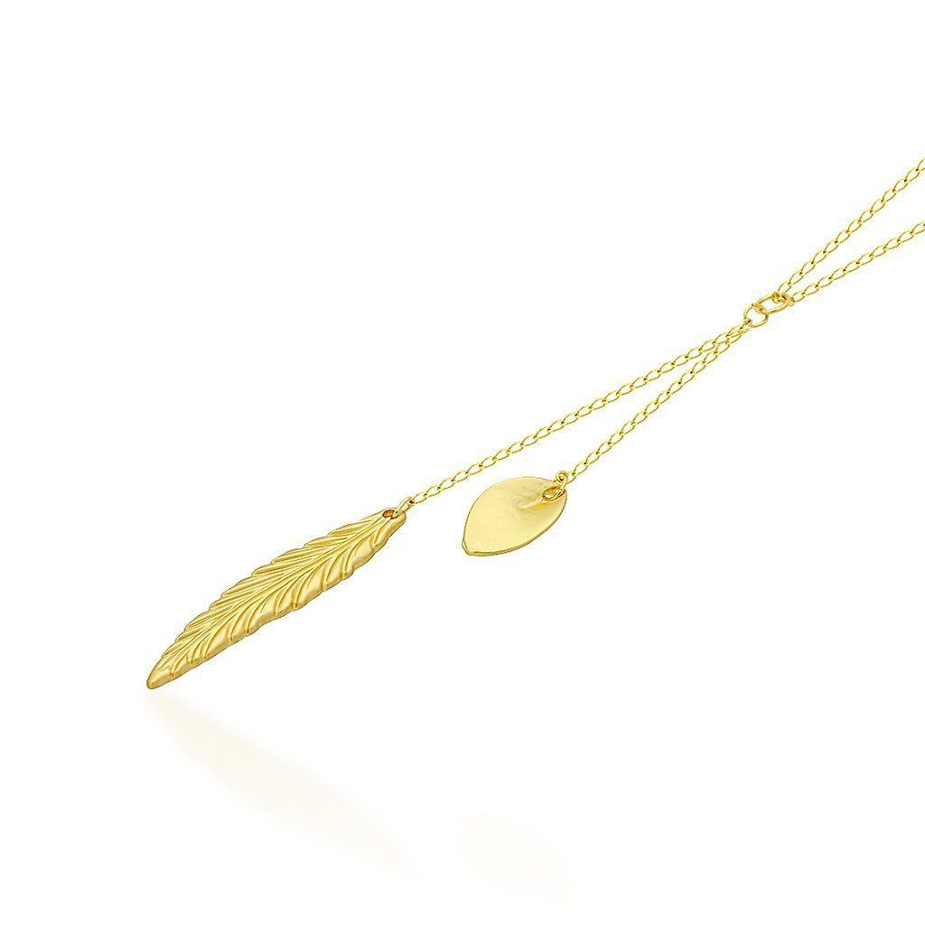 Feather+and+Leaf+Necklace,14K+Gold+Plated+Double+Necklace