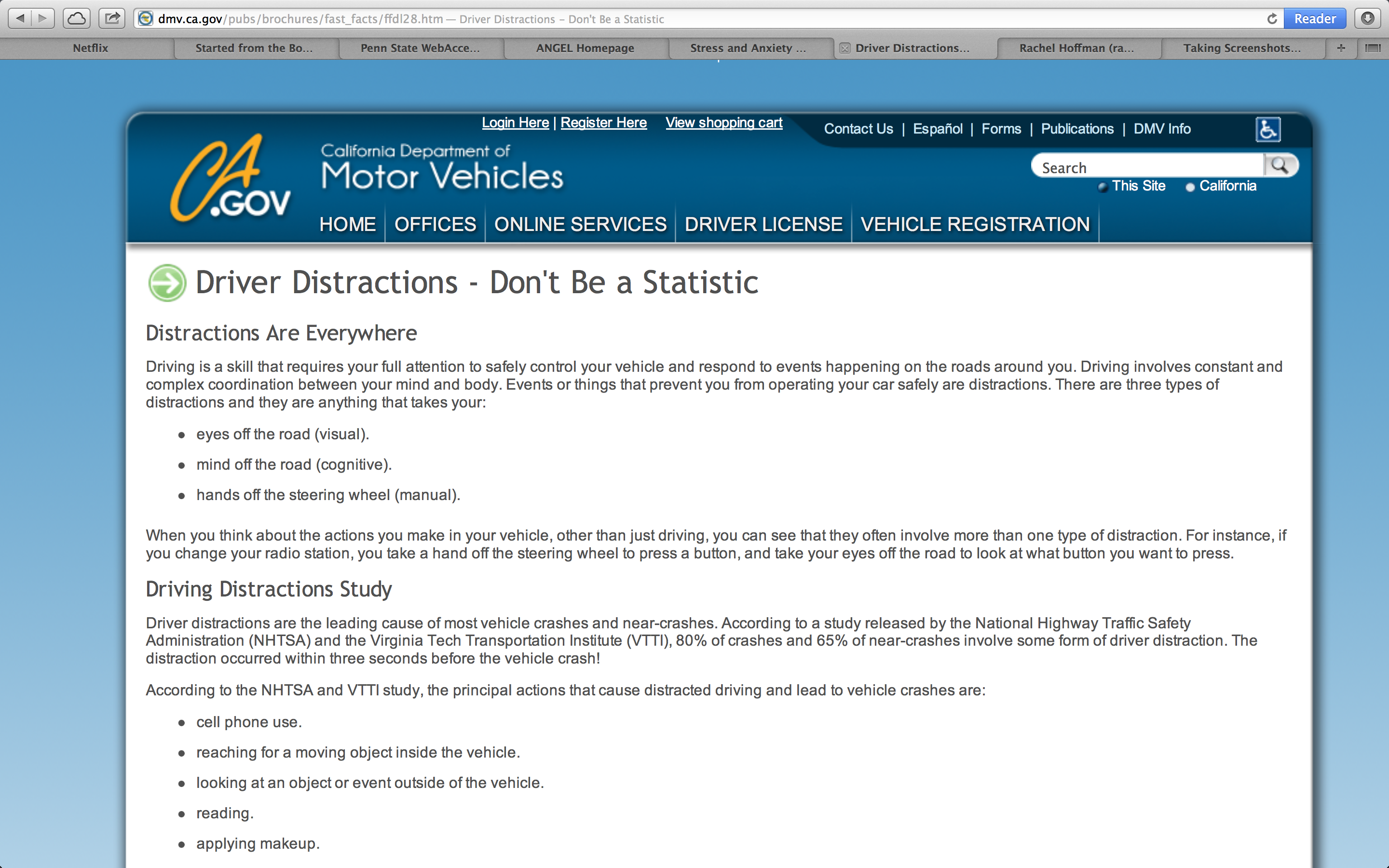 This DmvCaGov Brochure On Driver Distractions Shows The