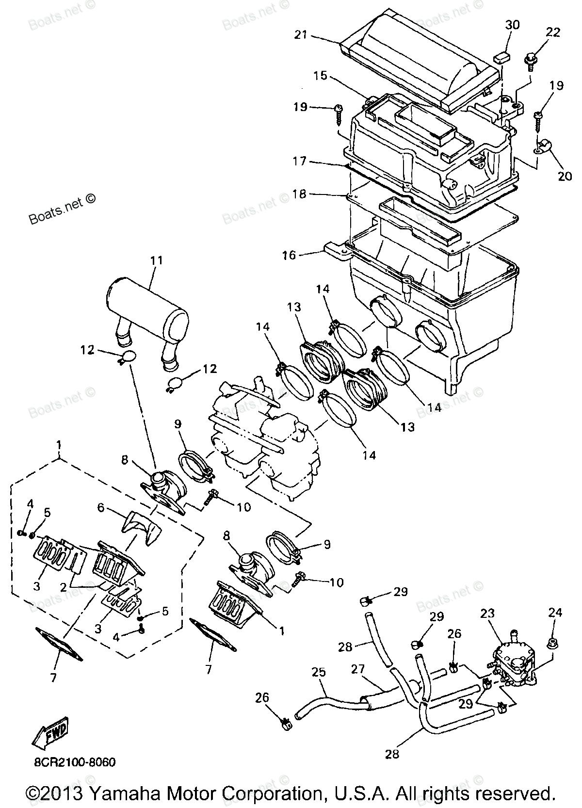 1998 vmax 600 xt vx600xtb yamaha snowmobile intake diagram and parts