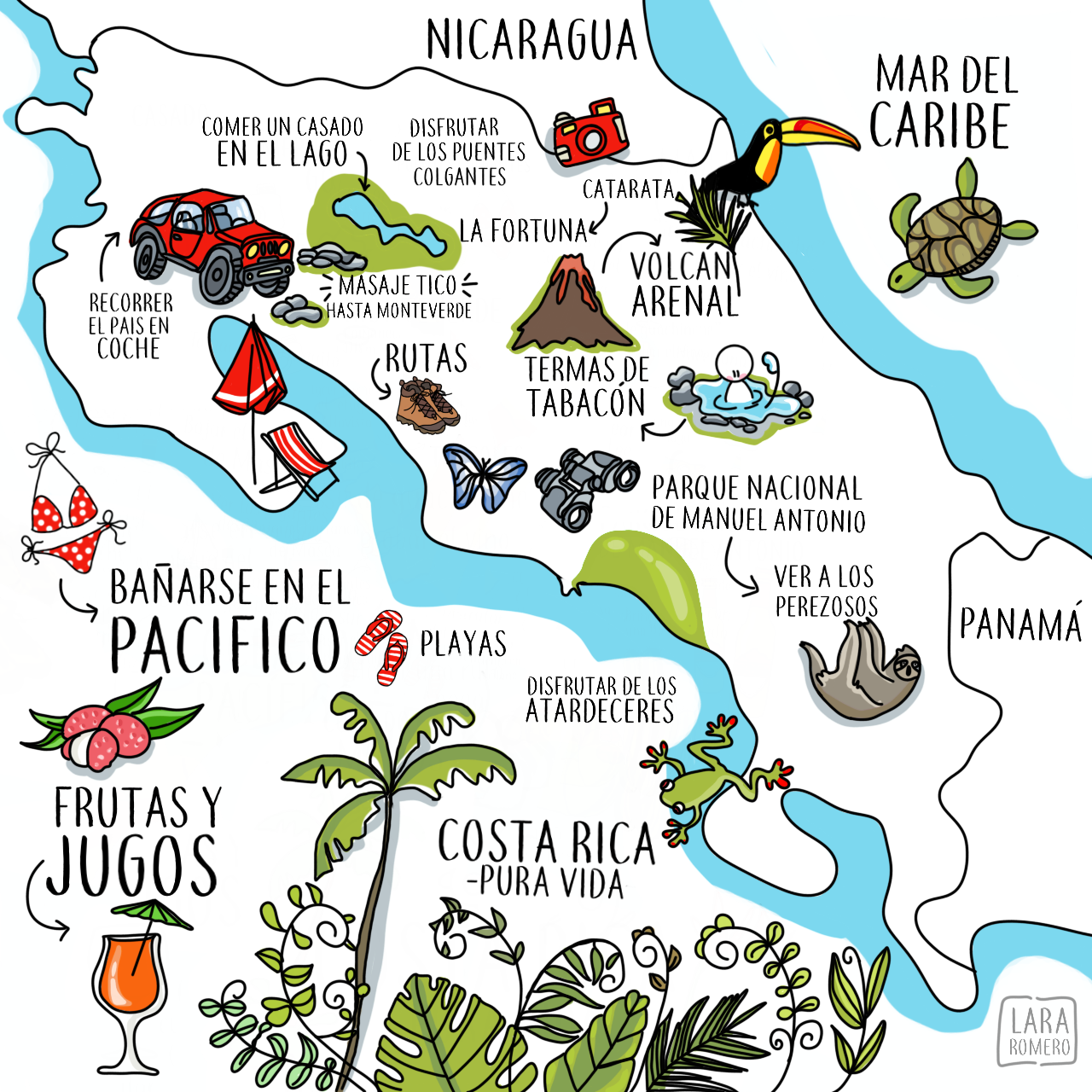 Pin By Amber Mooney On Visual Thinking Illustrated Map Costa Rica Travel Costa Rica Map