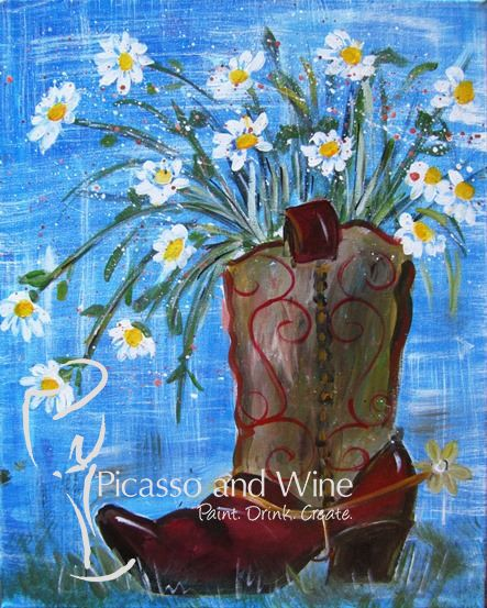 """Country Romance"" Let your inner artist shine at Picasso and Wine in Windsor. Sign up with your friends for a fun night, sip on some wine, and leave with a beautiful painting like this one! www.picassoandwine.com Painting Classes 