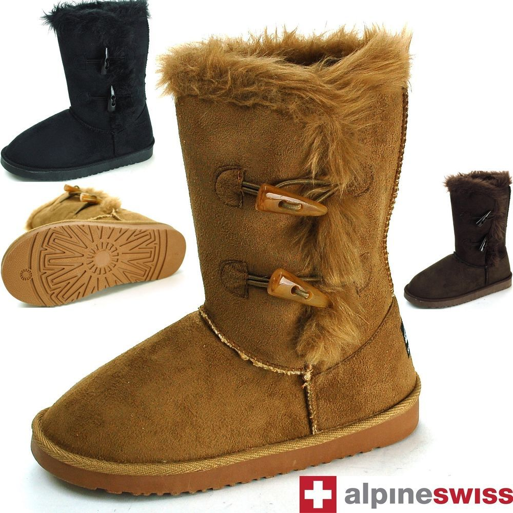 ac33c363d82 Womens Faux Shearling Boots Fur Lined Mid Calf 2 Toggle Button Flat ...