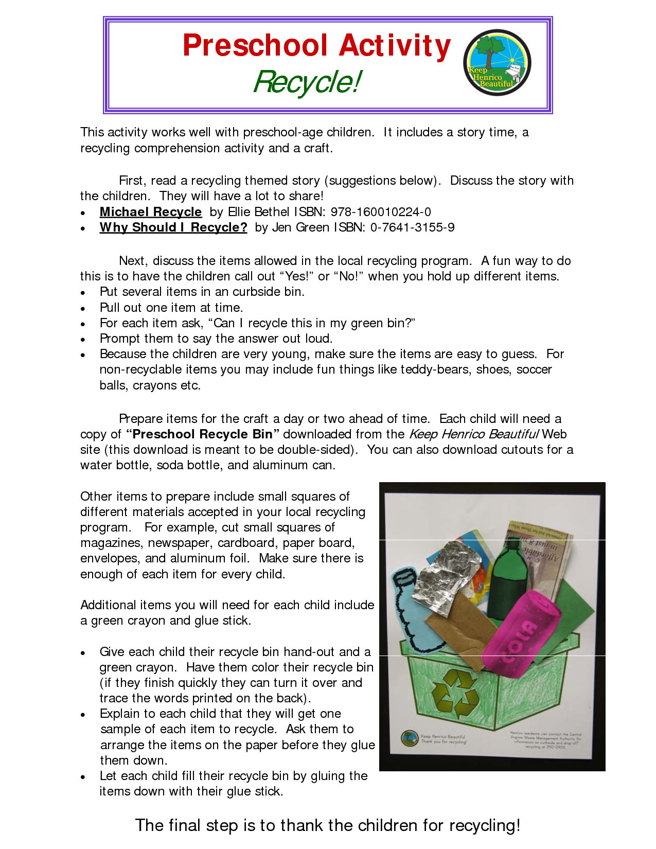 Recycling Preschool Activity Lesson Plans