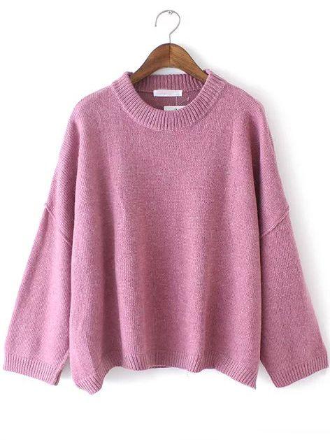 5761f9555 Purple Crew Neck Casual Knit Loose Sweater
