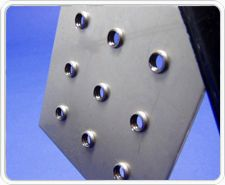 trumpf cnc punch press plunge formed and tapped holes in a thin sheet metal plate