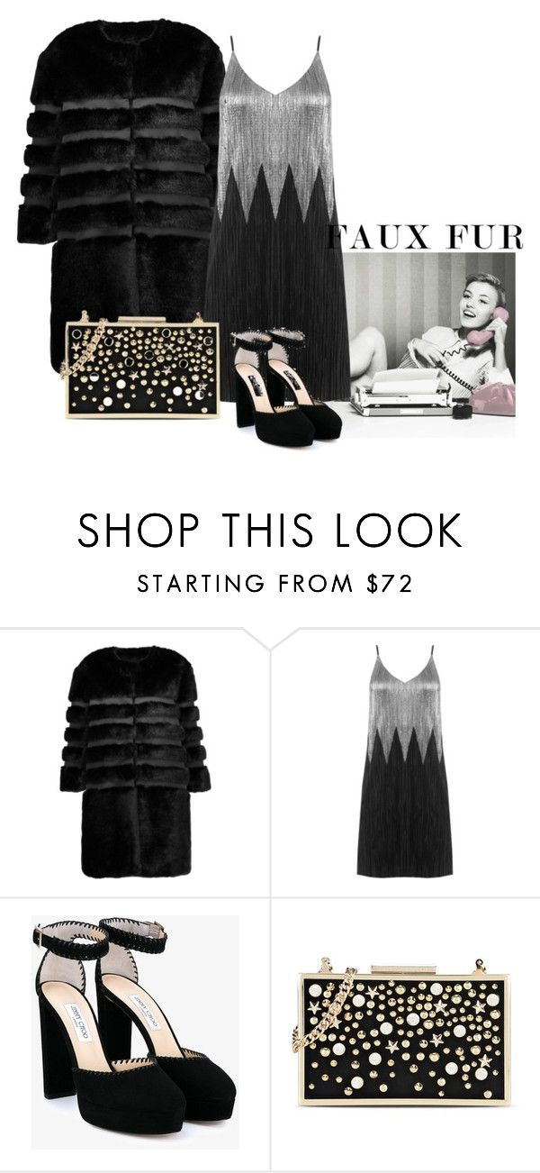 """faux is back, baby"" by the-vintage-palace2016 ❤ liked on Polyvore featuring AINEA, Jimmy Choo, Karl Lagerfeld and fauxfurcoats"