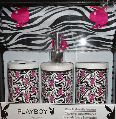 Playboy Bunny Zebra Patterned Shower Curtain Tumbler Pump Toothbrush Hooks New
