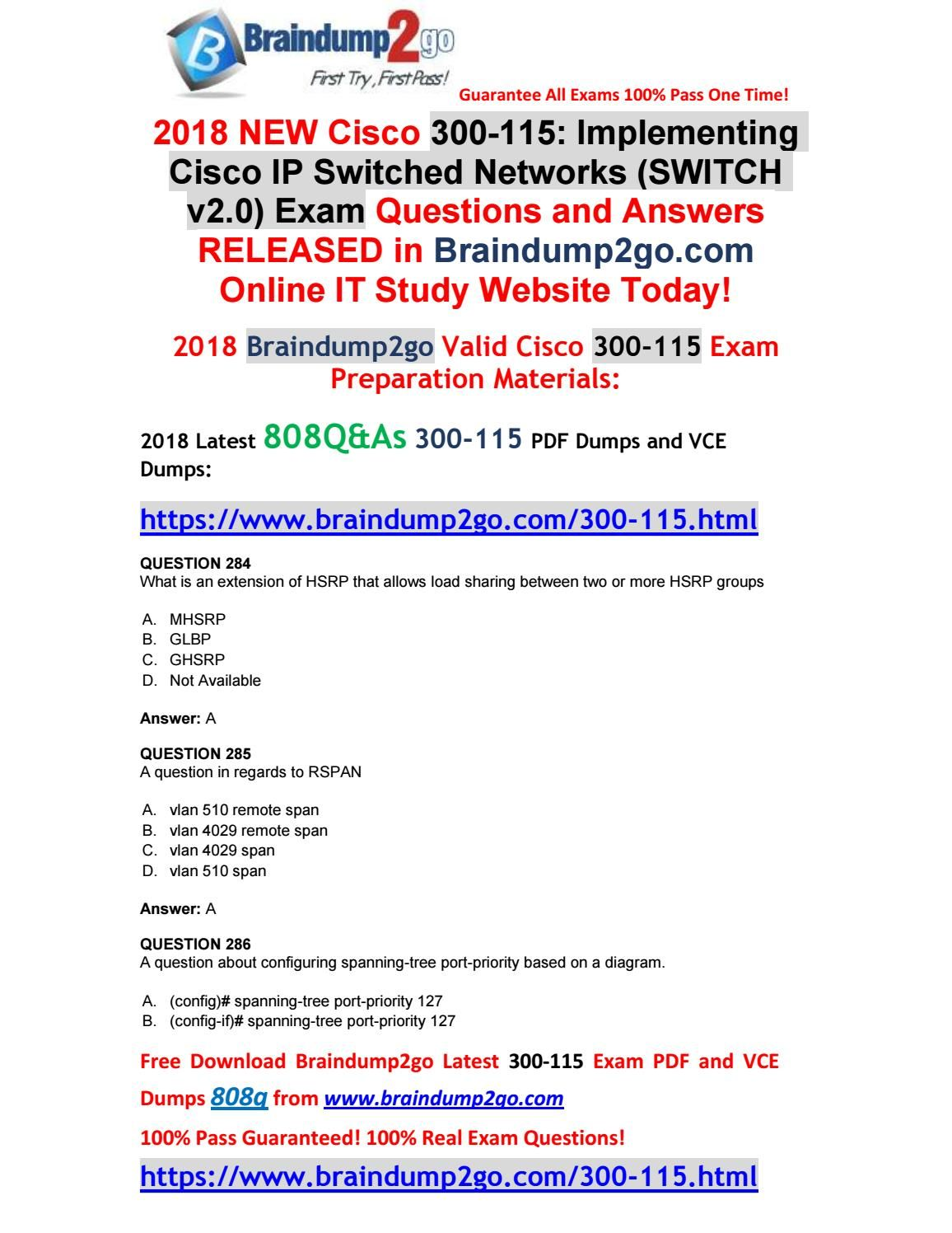 2018 8 new]braindump2go 300 115 dumps with pdf and vce 808q free