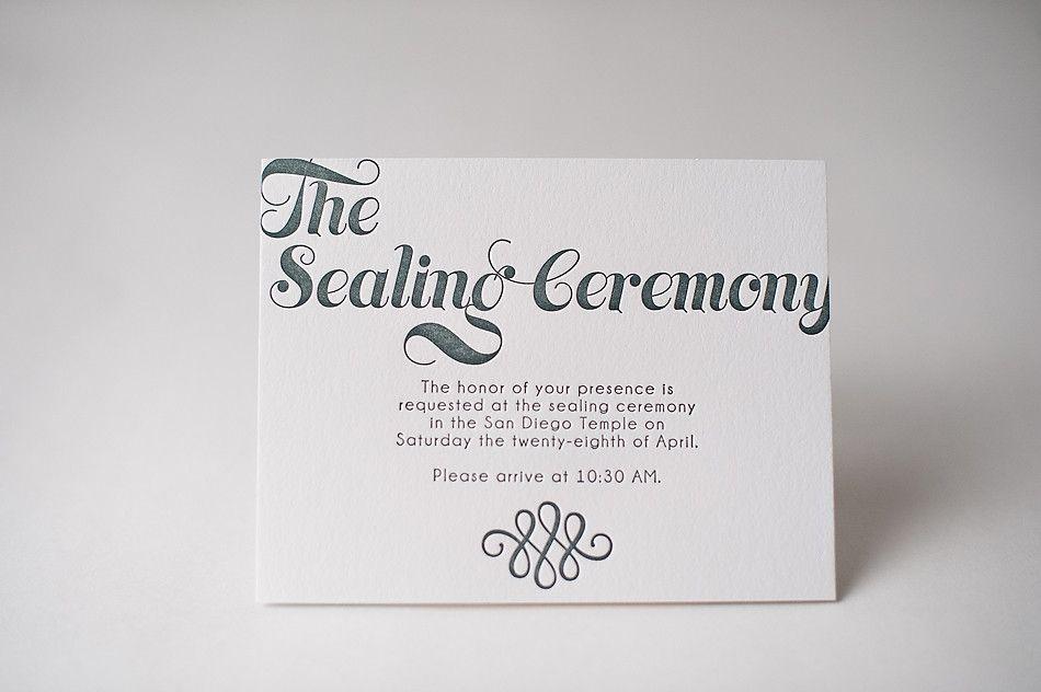 Invitation Info Cards Sealing Ceremony LDS Wedding