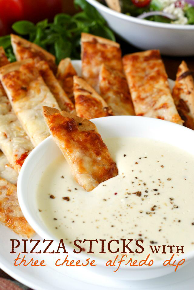 Pizza Sticks With Three Cheese Alfredo Dip Food Recipes