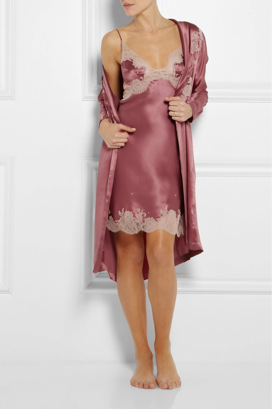 Lace dress nightwear  carine gilson lacetrimmed silksatin mousseliné chemise and robe