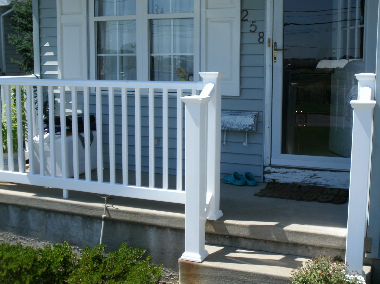 your railings distinct porch a front deck alloworigin touch vinyl style balcony with or railing of to fiberglass aluminum columns accesskeyid disposition add and