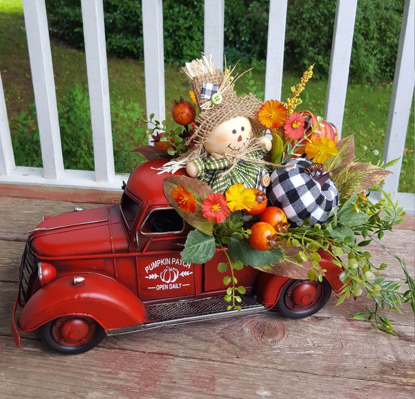 Red Truck Fall Red Truck Arrangement Scarecrow Pumpkin Red Etsy Red Truck Decor Fall Thanksgiving Decor Fall Halloween Decor
