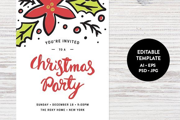 Christmas Party Invitation Template by Pixejoo on @creativemarket