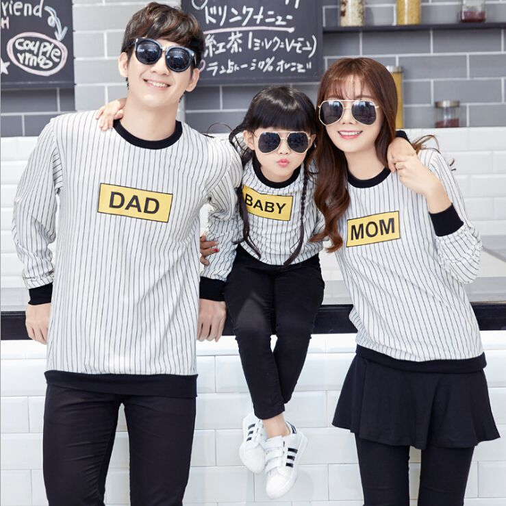 2016 Family Matching Outfits Striped Mother Daughter Father Son
