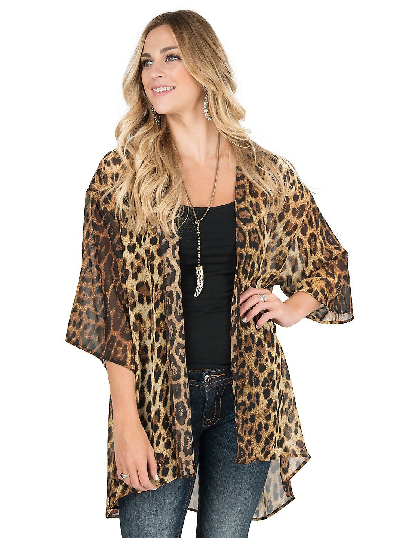 James C Women's Leopard Print 1/2 Sleeve Kimono | Cavender's ...