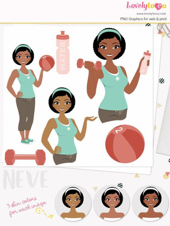 fitness woman character clipart
