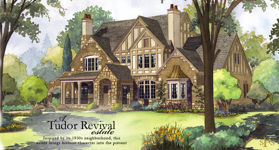 Stephen fuller designs tudor revival estate with two for Tudor house plans with photos