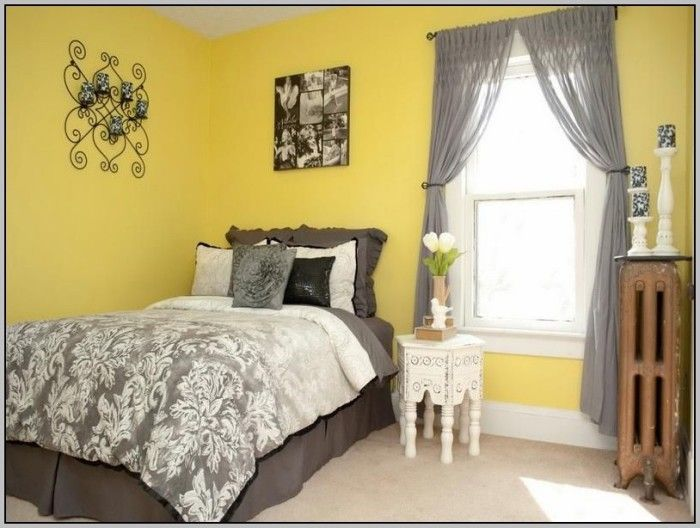 Gray Curtains With Yellow Walls Yellow Bedroom Walls Yellow