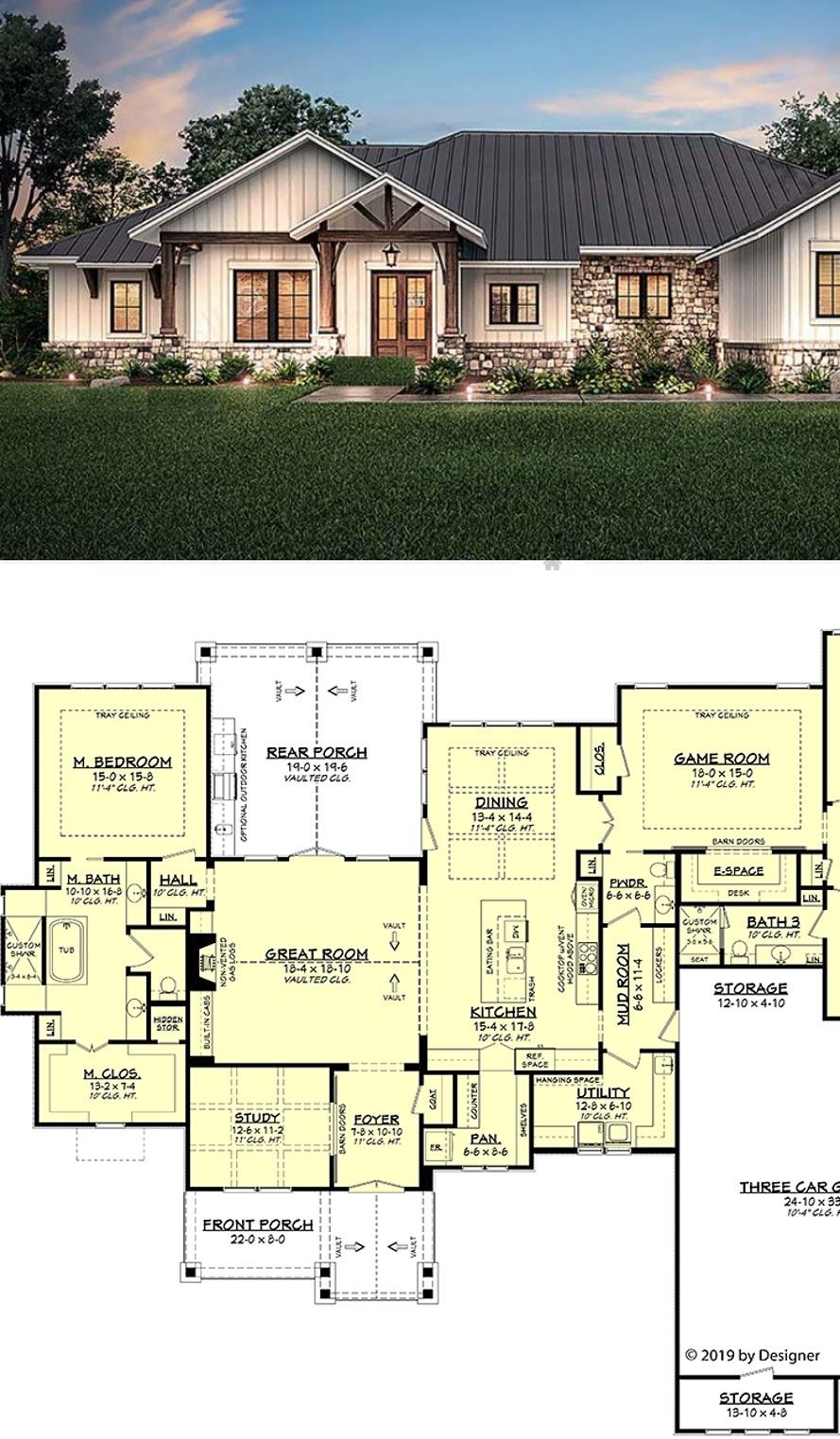 Ranch Style House Plan With 4 Bed 4 Bath 3 Car Garage Ranch Style House Plans Craftsman House Plans Ranch Style Floor Plans