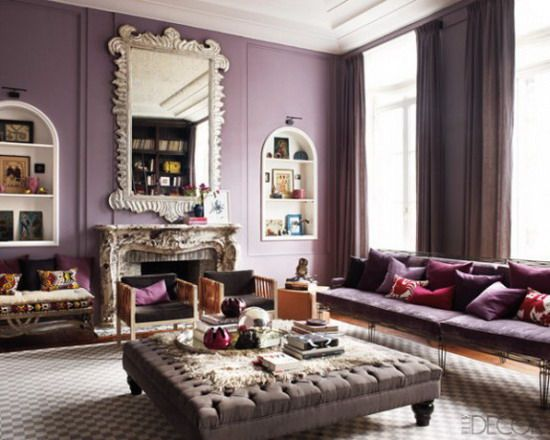 Purple Living Room purple and gray living room with glossy white box beams purple velvet sofa purple chipper pillows gray chairs with plum pillows chinese black lacquer Purple Living Room Interior Decoration With Contemporary Style
