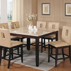 Acme Britney 7 Pc Square Marble Top Counter Height Table Set With Intended For Measurements 1280 X 1006 Kitchen You Use It Each A