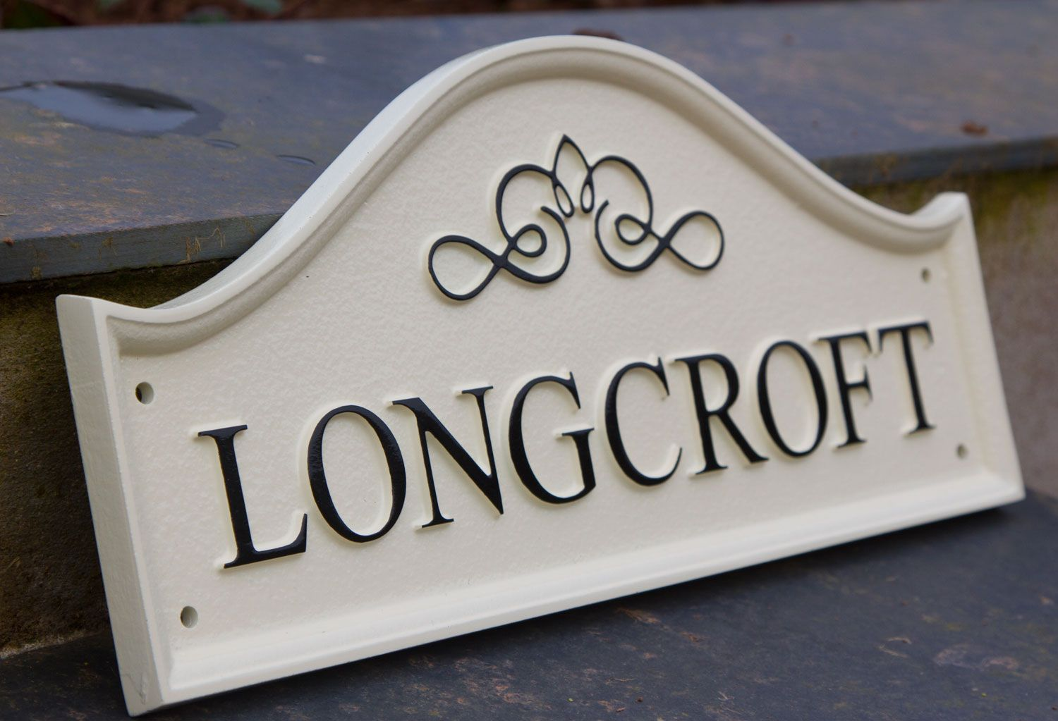 House Sign solid oval brass plaque engraved with plinth