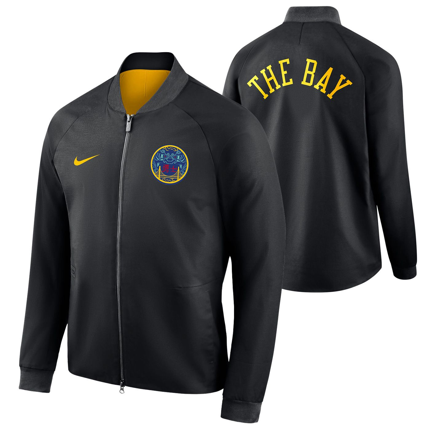 a03cb8575 Golden State Warriors Nike Men's Chinese Heritage 'The Bay' City Edition  Modern Varsity Jacket - Black