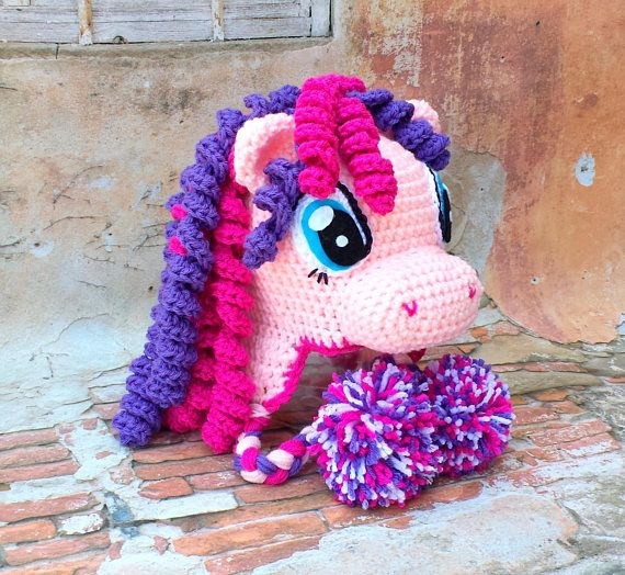Crochet pony hat.Pink purple pony hat #crochetpony