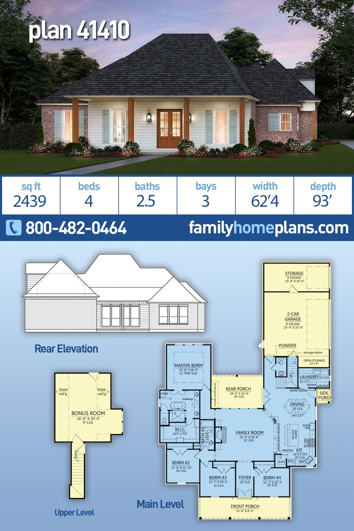 Traditional Style House Plan 41410 With 4 Bed 3 Bath 3 Car Garage In 2020 Floor Plans House Plans Craftsman House Plans