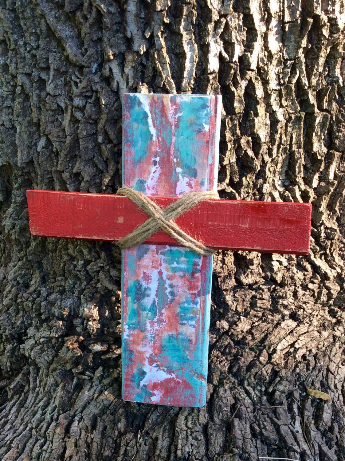 Hand painted Red & Teal Wooden Cross, Reclaimed Pallet Wood Cross by ModBugDeco on Etsy https://www.etsy.com/listing/466153358/hand-painted-red-teal-wooden-cross