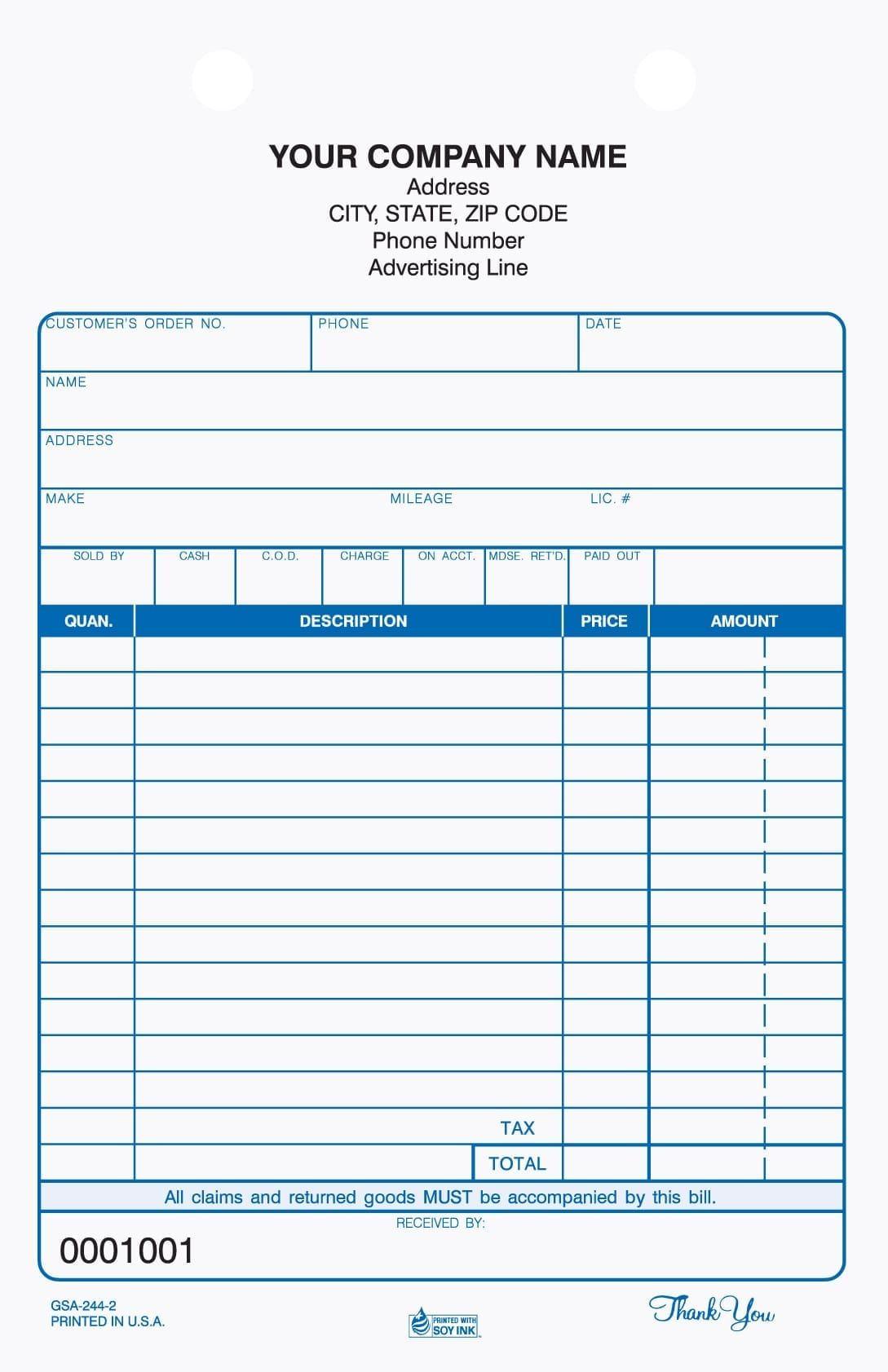 2 Part Auto Service Register Tickets Carbonless Auto Service Invoice Template Word Invoice Design