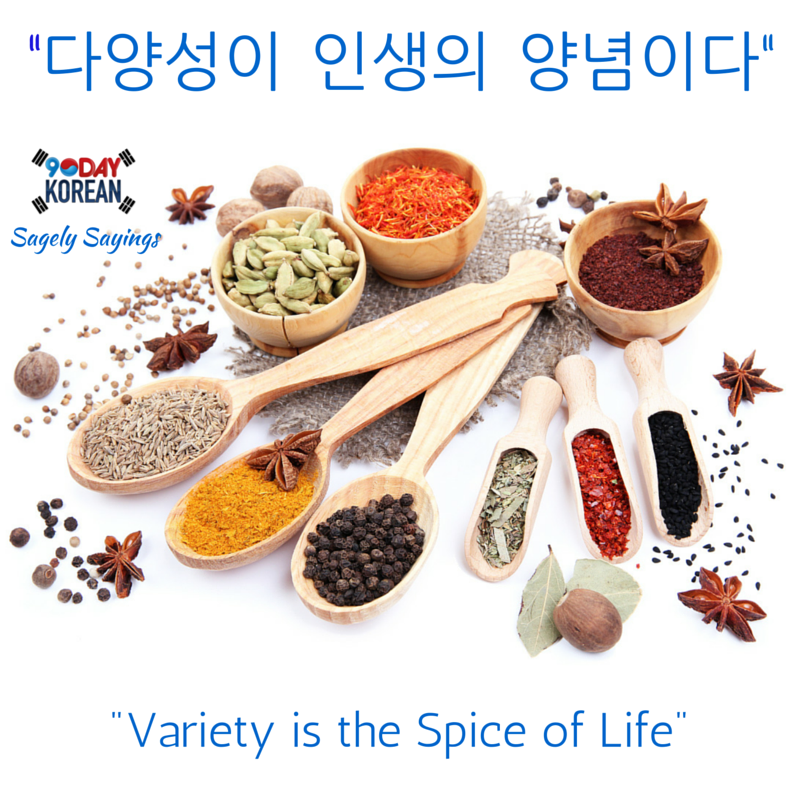 "Korean Proverbs: ""다양성이 인생의 양념이다"" = ""Variety is the Spice of Life"". #korean_proverb #korean_language #study_korean"