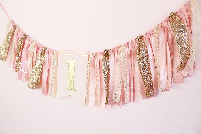 Blush pink and gold ribbon high chair banner handmade
