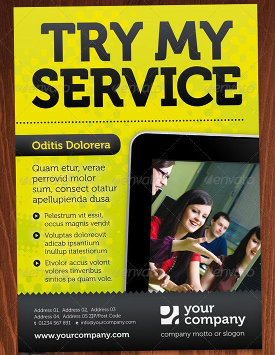 Good Try My Service InDesign Flyer Template Intended Advertising Flyers Templates Free