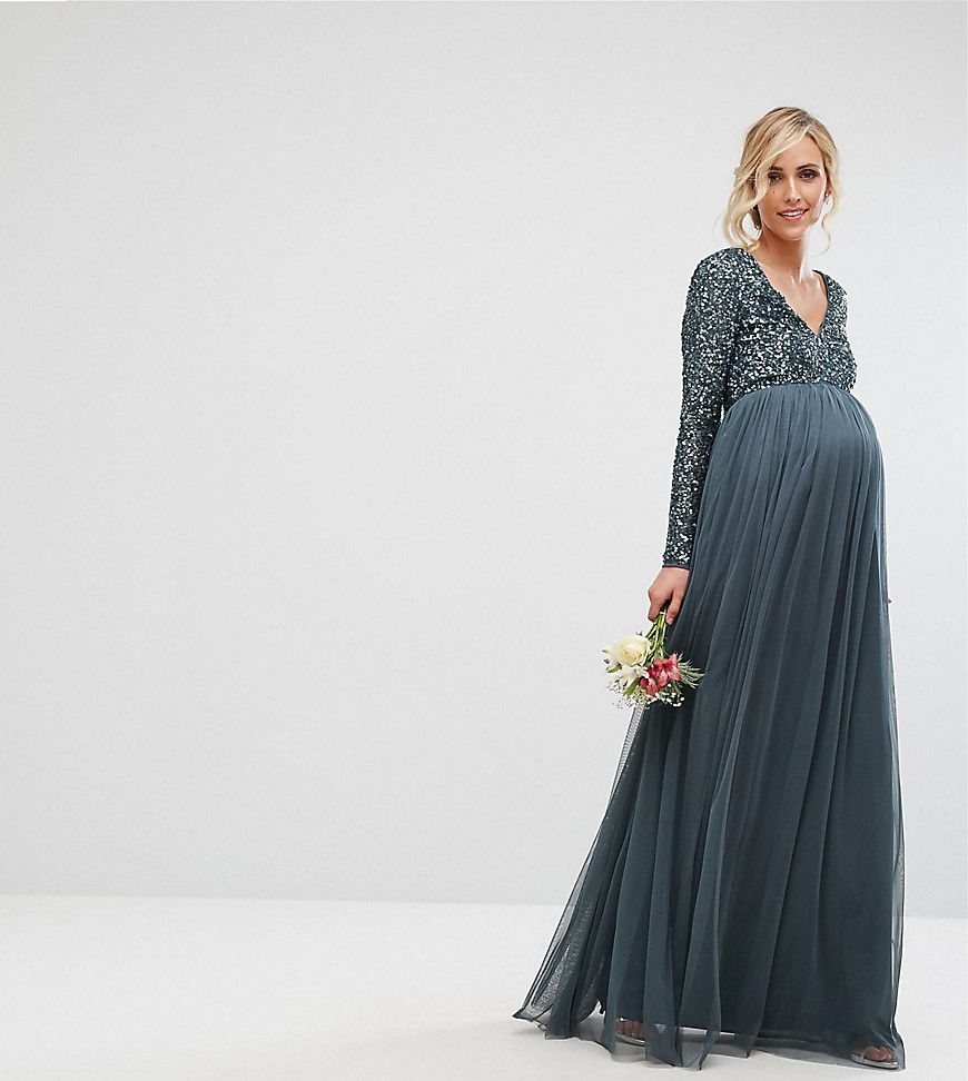 a73b2dcf8 Maya Maternity Plunge Front Long Sleeve Maxi Dress In Tonal Delicate ...