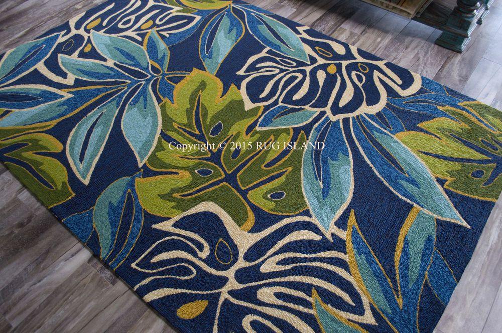 8x11 Tropical Coastal Beach Palms Blue Aqua Green Indoor Outdoor Hooked Area Rug