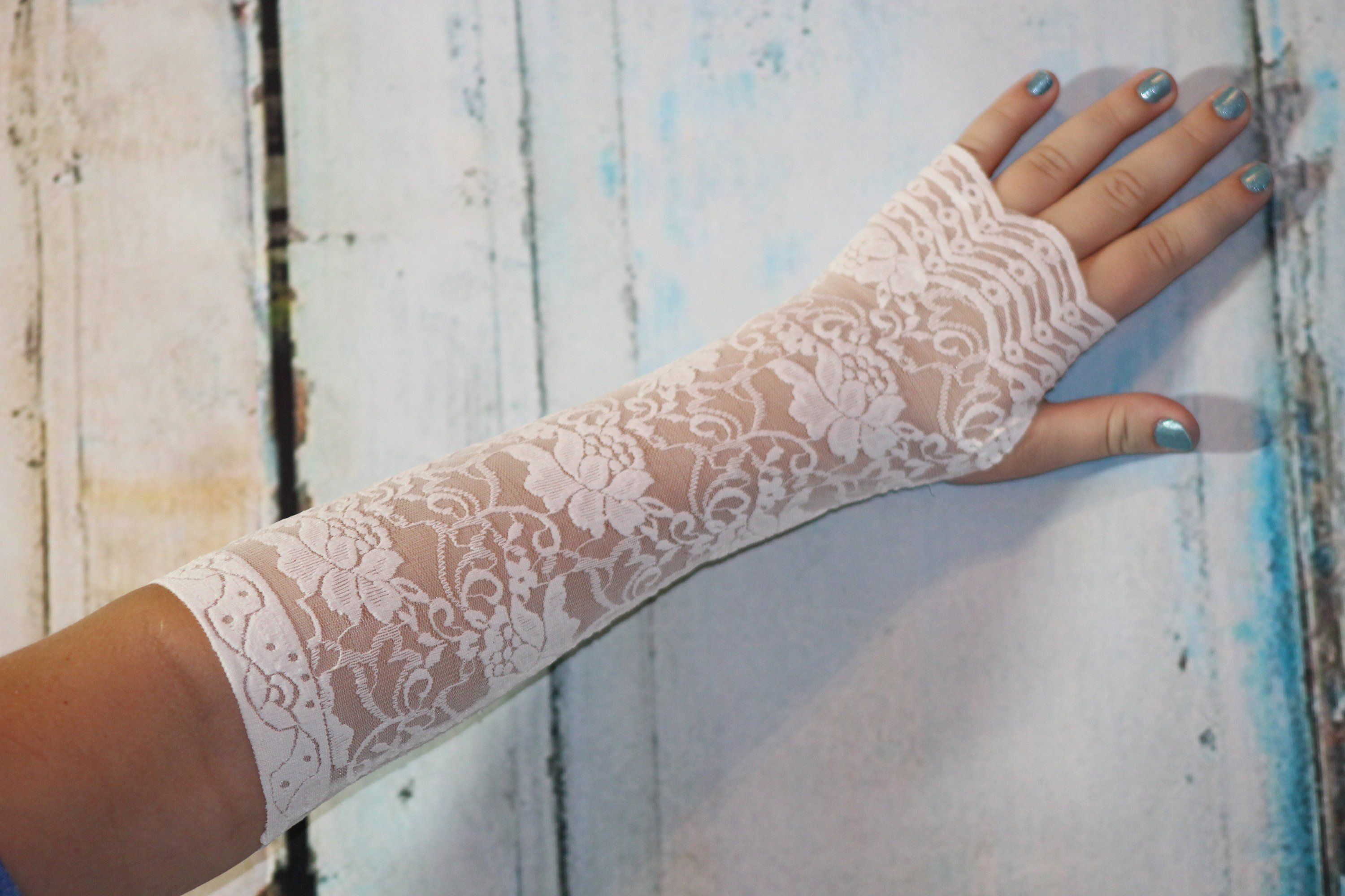 White Long Fingerless Gloves Black Lace Cuff Boho Accessories