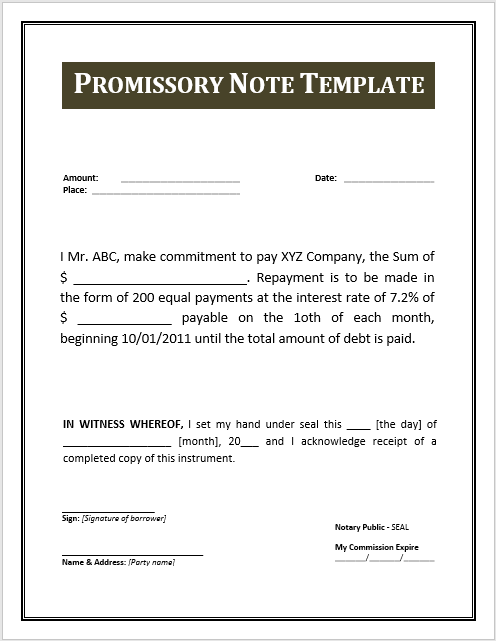 Promissory Note Templates Word 45 Free Promissory Note Templates