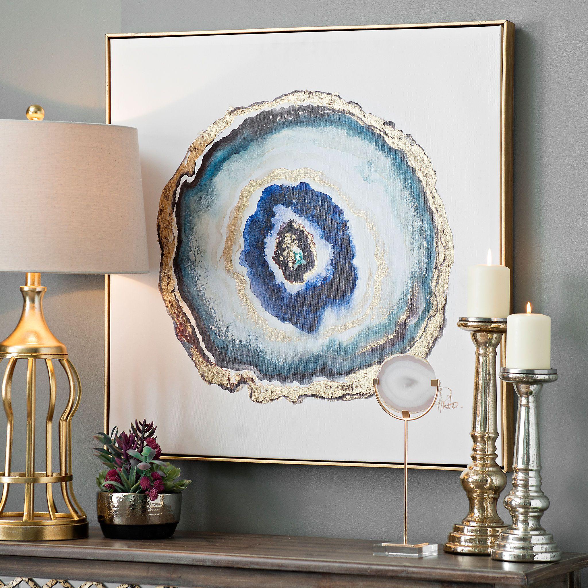Indigo Watercolor Geode Framed Canvas Art Print | Kirklands | Gifts ...