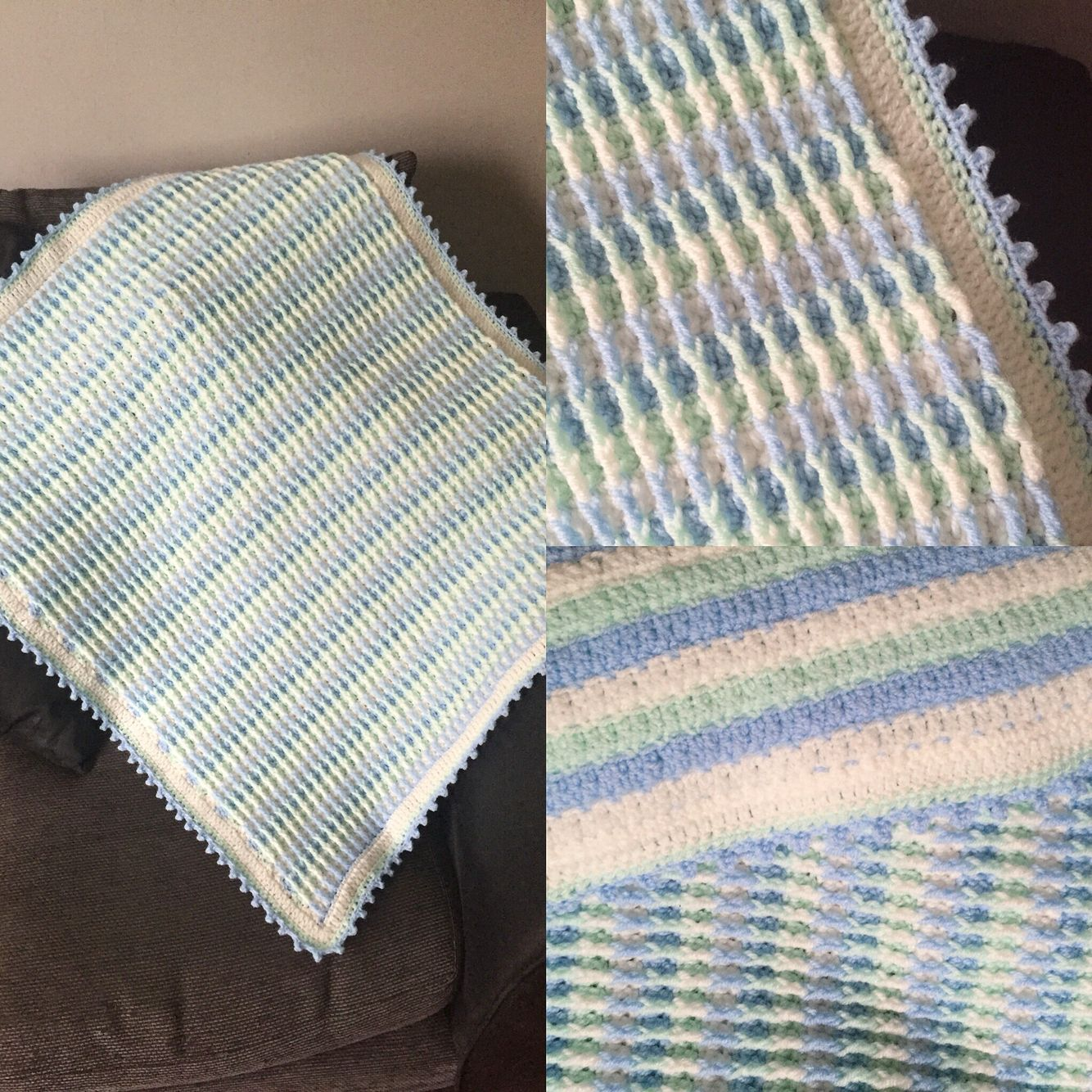 Crochet Patterns For Thick Blankets : Crochet Textured & Thick Baby Blanket using the Rainbow ...