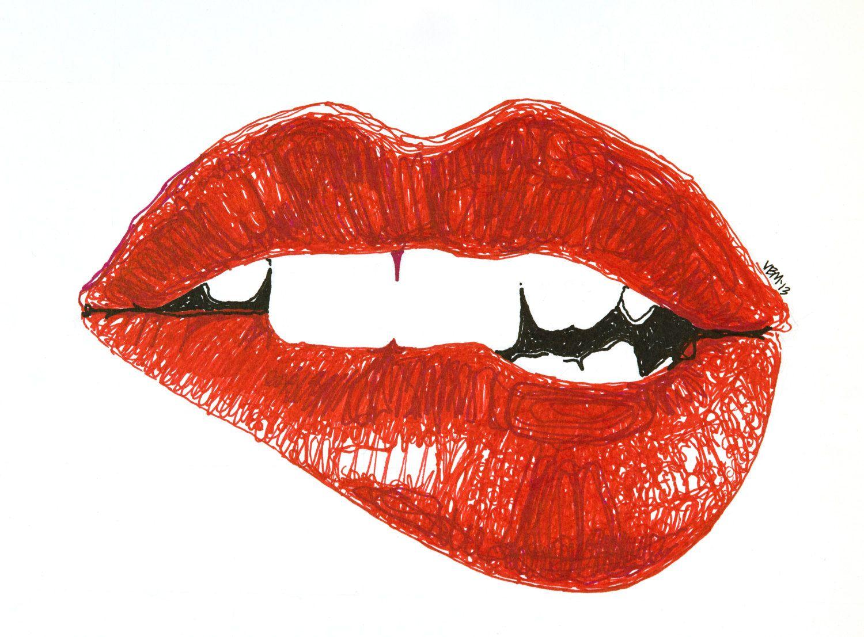 Biting lip drawing