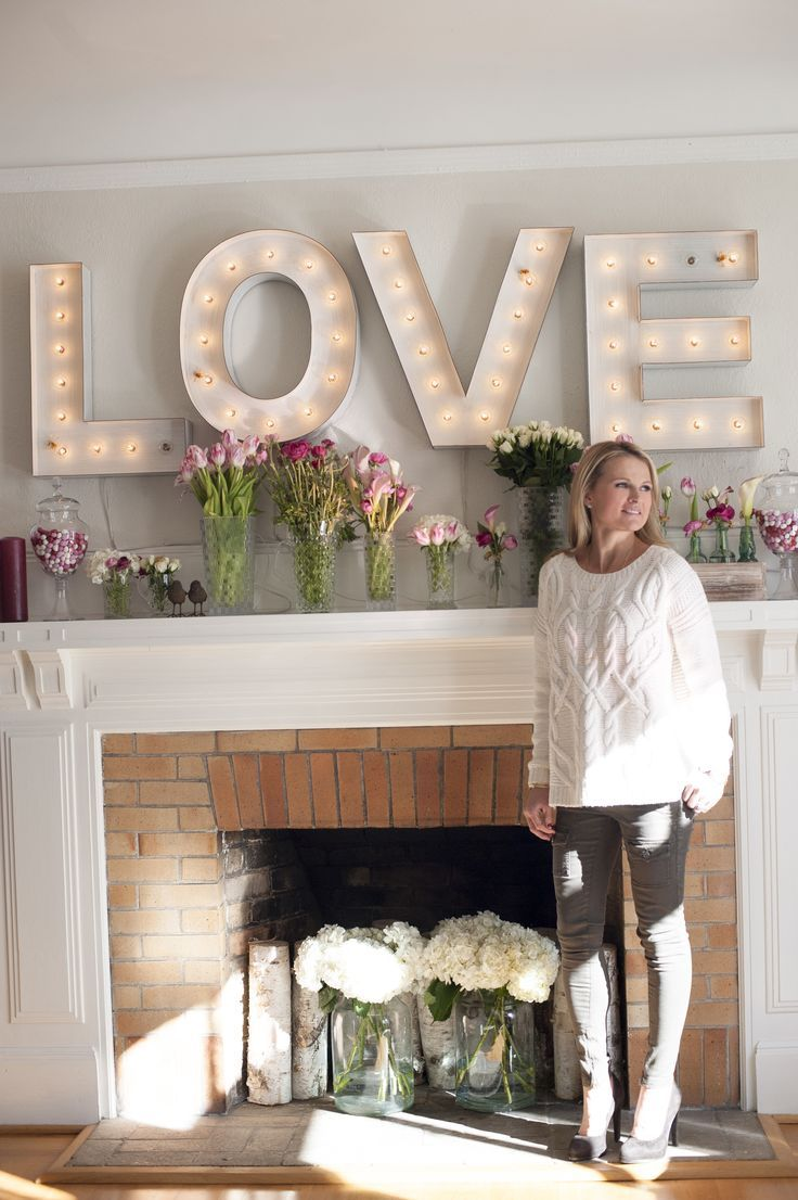 Valentine's Day DIY Tip #4: Pimp out your mantle! Marquee letters from RH kids allow the emotion to be scattered across the mantle for a rustic look and a special moment that celebrates more than the holiday.